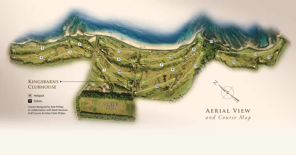 Coursemapacard Kingsbarns - Us golf course map